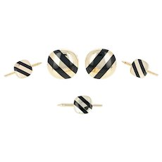 Black Onyx Stripe Tuxedo Set - 14k Yellow Gold Men's Cufflinks & Shirt Studs