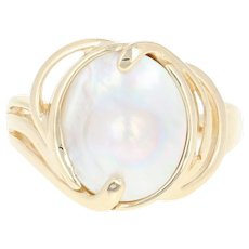Cultured Blister Pearl Ring - 14k Yellow Gold Solitaire Size 5 3/4