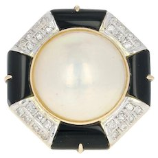Cultured Mabe Pearl, Imitation Onyx, & Diamond Ring -14k Yellow Gold Halo .11ctw