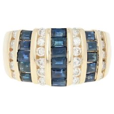 Sapphire & Diamond Dome Ring - 14k Yellow Gold Baguette 1.90ctw
