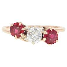 Edwardian Diamond & Garnet & Glass Doublet Ring -14k Gold Antique Old Mine .34ct