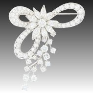 Retro Diamond Floral Bow Brooch - Platinum Vintage Pin Marquise 7.84ctw