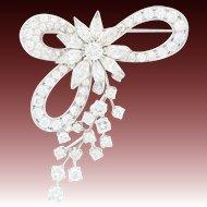 Retro Diamond Floral Bow Brooch - Platinum Vintage Pin Marquise 7.84ctw