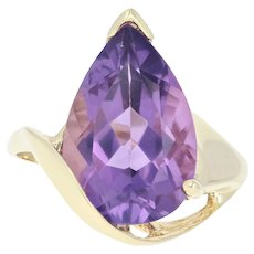 Amethyst Solitaire Bypass Ring - 10k Yellow Gold Pear Brilliant 6.00ct
