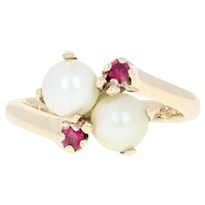 Cultured Pearl & Synthetic Ruby Bypass Ring - 10k Gold Round Brilliant .10ctw