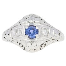 Art Deco Sapphire & Diamond Ring - 18k White Gold Vintage Filigree Round .66ctw