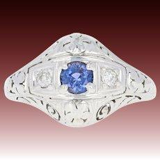 Art Deco Sapphire & Diamond Ring - 18k White Gold Vintage Filigree Round .66ctw