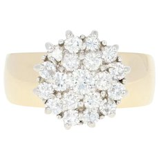 Diamond Cluster Ring - 14k Yellow Gold Round Brilliant 1.07ctw