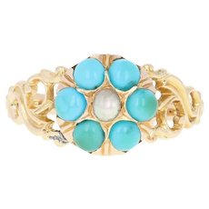 Victorian Turquoise & Pearl Flower Ring - 18k Gold Antique Halo Size 7 3/4