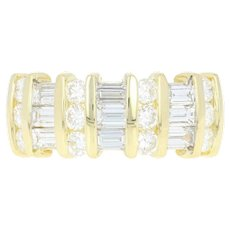 Diamond Ring - 18k Yellow Gold Woven Baguette Cut 1.62ctw