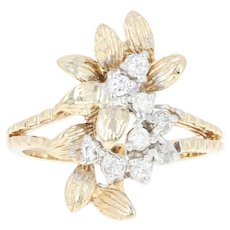 Diamond Botanical Ring - 14k Yellow Gold Size 7 1/2 Round Cut .24ctw
