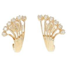 Diamond Fan Earrings - 14k Gold J-Hook Pierced Single Cut .15ctw