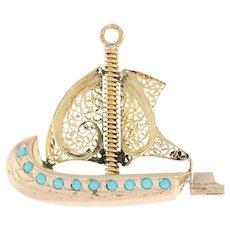 Vintage Viking Ship Pendant - 800 Gold Filigree Details Glass Beads