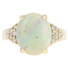 Opal & Diamond Ring - 14k Yellow Gold Oval Cabochon 2.79ctw