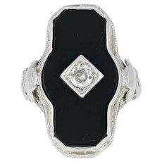 Art Deco Onyx & Diamond Ring - 14k White Gold Filigree Milgrain Mine Cut .17ct