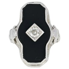 Art Deco Onyx & Diamond Ring - 14k White Gold Filigree Milgrain Mine Cut .17ct