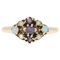 Victorian Synthetic Spinel, Opal, & Seed Pearl Ring - 10k Gold Antique .12ctw