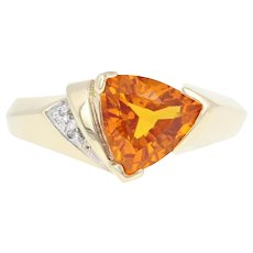 Synthetic Orange Sapphire & Diamond Ring - 10k Yellow Gold 2.37ctw