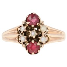 Victorian Garnet & Glass Doublet Ring - 10k Rose Gold Seed Pearls Antique