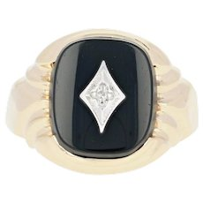 Vintage Men's Onyx Ring - 10k Yellow Gold Diamond Accent Size 10 3/4