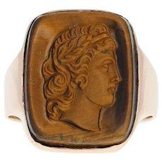 Antique Carved Tiger Eye Cameo Ring - 10k Rose Gold Men's Size 9 1/2