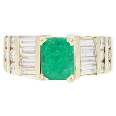 Emerald & Diamond Ring - 14k Yellow Gold Size 5 1/4 Women's 2.31ctw