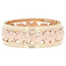 Art Deco Flower Blossom Eternity Band - 14k Gold Vintage Wedding Ring Milgrain