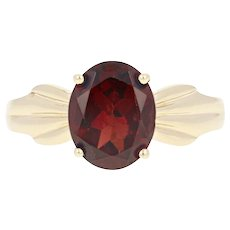Garnet Solitaire Ring - 14k Yellow Gold Oval Brilliant 2.75ct