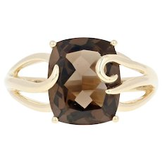 Smoky Quartz Solitaire Ring - 14k Yellow Gold Cushion Brilliant 4.70ct