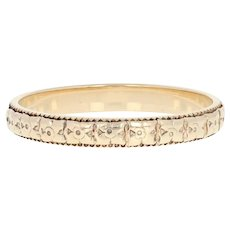 Art Deco Floral Wedding Band - 14k Yellow Gold Milgrain Vintage Ring Size 6