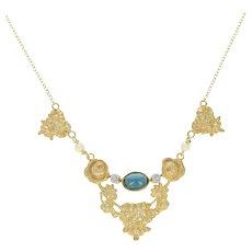 Art Nouveau Sapphire Pendant Necklace - 18k Gold Antique w/ Chain 1.20ct