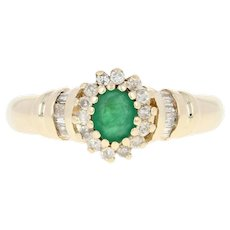 Emerald & Diamond Halo Ring - 10k Yellow Gold Oval Brilliant Round .49ctw