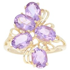 Amethyst Bypass Ring - 10k Yellow Gold Cluster Oval Brilliant 4.00ctw