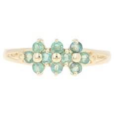 Alexandrite Cluster Ring - 14k Yellow Gold Round Brilliant .65ctw