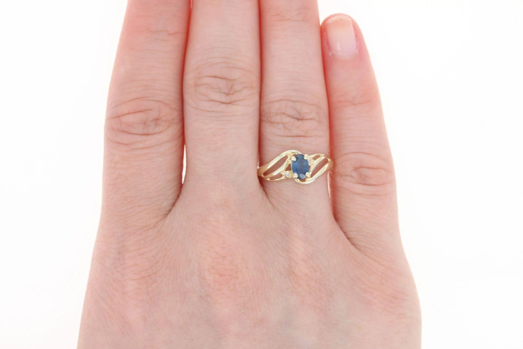 Sapphire Bypass Ring with Diamond Accents - 10k Yellow Gold Oval ...