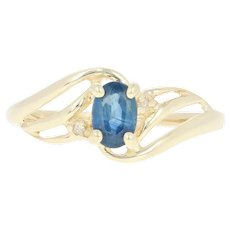 Sapphire Bypass Ring with Diamond Accents - 10k Yellow Gold Oval Brilliant .60ct