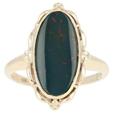 Vintage Bloodstone Ring - 10k Yellow Gold Women's Size 6 1/4