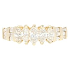 Tiered Diamond Ring - 14k Yellow Gold Marquise & Baguette Cut 1.00ctw