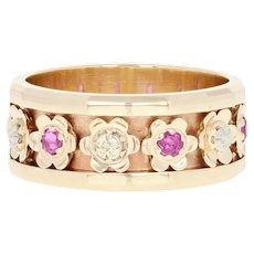 Vintage Ruby Flower Band - 14k Gold Eternity Ring Size 6 Round Brilliant .35ctw