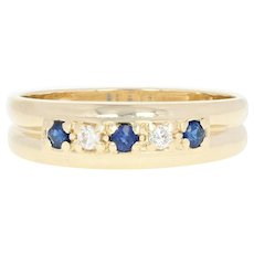 Men's Sapphire & Diamond Band - 14k Gold Ring Size 11 1/2 Round Brilliant .34ctw