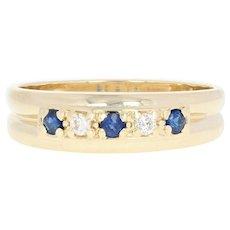 Men's Sapphire & Diamond Band - 14k Gold Ring Size 11 1/2 Round Brilliant .34ctw