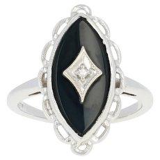 Vintage Onyx Ring - 14k White Gold Diamond Accent Milgrain Scallop Size 4
