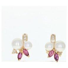 Cultured Pearl, Ruby, & Diamond Stud Earrings - 14k Yellow Gold Pierced .57ctw