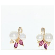 Cultured Pearl, Ruby, & Diamond Stud Earrings - 14k Yellow Gold Pierced .57ctw