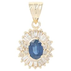 Sapphire & Diamond Halo Pendant - 14k Yellow Gold Oval Brilliant 1.75ctw