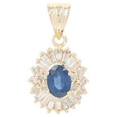 Sapphire & Diamond Halo Pendant - 14k Yellow Gold Oval Brilliant 1.75ctw