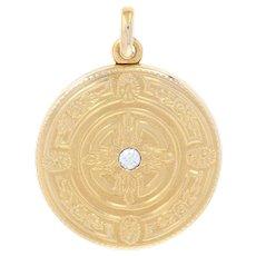 Art Deco Diamond Locket - 14k Gold Vintage Engraved Cross European Cut .14ct
