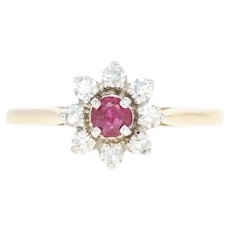 Ruby & Diamond Halo Ring - 14k Yellow Gold Round Brilliant .32ctw