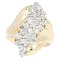 Diamond Waterfall Ring - 10k Yellow Gold Cluster Bypass Round Cut 1.00ctw