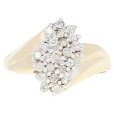 Diamond Waterfall Ring - 10k Yellow Gold Cluster Bypass Round Cut .50ctw